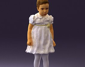Little girl in white dress 0435 3D Print Ready