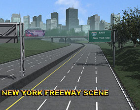 New York Freeway Scene highway 3D model