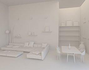 3D printable model Living Room with furniture 8 x 10