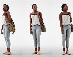 3D Caroline 07 Woman standing casual oufit with bag over