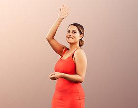 Elli 11955 - Elegant woman in red dress waving 3D