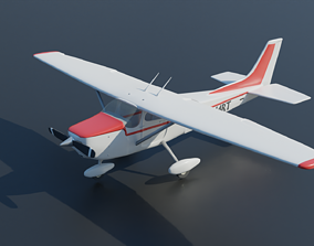 realtime Cessna 172 Skyhawk Airplane - 3D Model - Low Poly