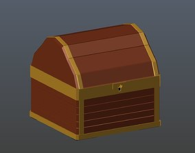 Low poly chest 3D model realtime