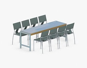 0755 - Table and Chairs Set 3D model realtime