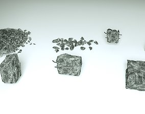 Demolished Concrete and stones - 7 3D models