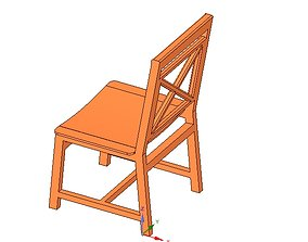 3D printable model solid wood chair with 12 mm bent 1