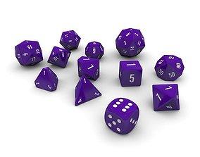 3D asset Polyhedral Dice Set - Purple