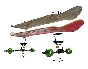 3D model Skateboard Disassemble