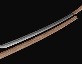3D asset Wooden japanese sword model