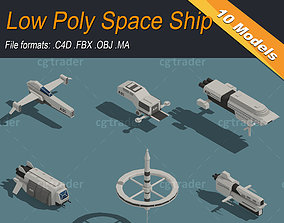 Low Poly Space Ship Isometric Icon 3D model