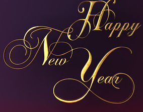 3D model Happy New Year Text