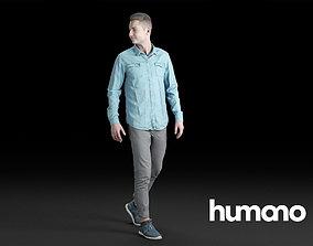 Humano Casual Man Walking and looking 0202 3D model