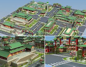 Ancient Chinese building Set 3D asset