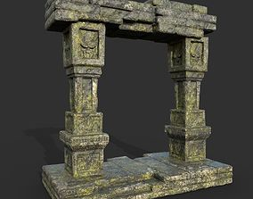 3D model Low poly Ruin Mossy Temple Gate 01 190318