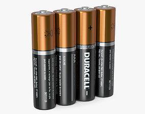 AAA Four Duracell Alkaline Battery 3D