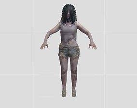 female creepy zombie horror enemy 3D printable model
