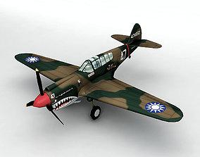 3D model P-40E Warhawk Aircraft LOW