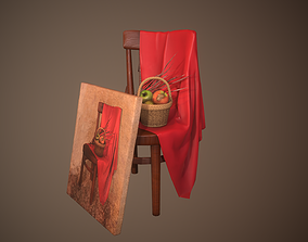 Art Composition Painting Chair Fabric 3D model
