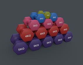 PBR 1-5KG Women Hexagon Dumbbell V2 - Neoprene 3D asset