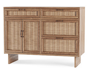 Wooden chest of drawers from rattan 3D