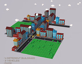 Low Poly City Pack 3D asset game-ready