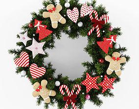 Christmas wreath 3D model present