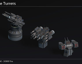 Scifi Turret Collection II 3D asset