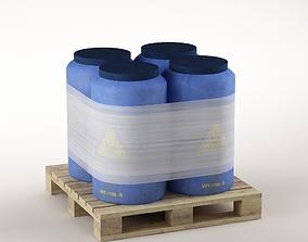 Plastic barrels on the pallet 3D