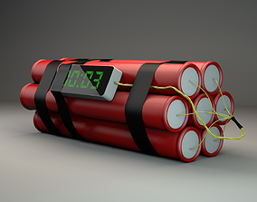 Ticking time bomb wired with TNT dynamite and digital 3D