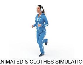 3D Sports woman jog