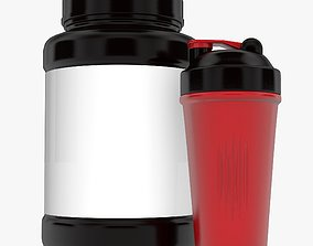 3D model Shaker Cup and Bottle With Cover