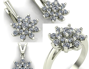 WOMAN SET RING EARRINGS AND PENDANT 3D model diamond