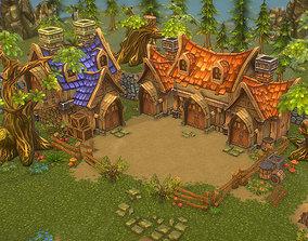 3D asset Low Poly Fantasy Environment Level Set