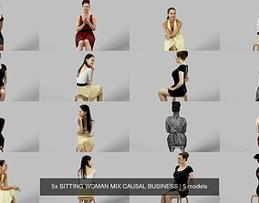 3D 5x SITTING WOMAN MIX CAUSAL BUSINESS