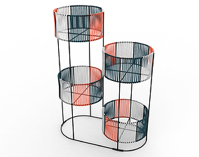 Ariba Woven Four Set Tiered Plant Stand 3D model