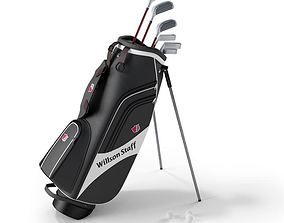 Willson Staff Golf Bag With Clubs 3D model