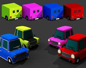 low-poly Generic passenger cartoon car pack Low-poly 3D