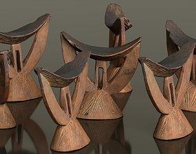 3D model game-ready Headrest Africa Wood Furniture Prop 29