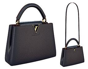 3D Louis Vuitton bag Capucines Blue Leather