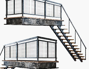 3D asset Metal stair with railing