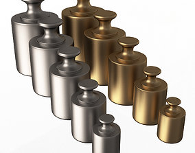 Antique Scale Weights Set 3D model