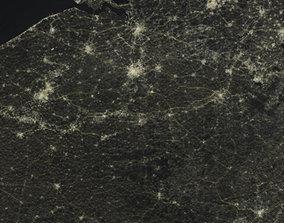 Belgium - impression of night satellite view of entire 3D