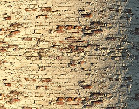 Old painted brick wall 02 3D model