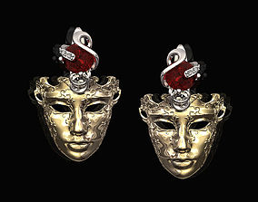 Venetian Mask Earrings platinum 3D printable model
