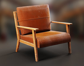 Leather Armchair with Wooden Frame 3D model