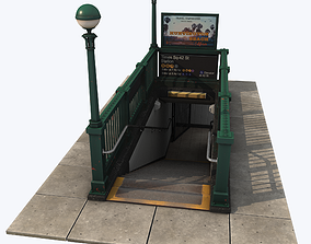 Subway Entrance 3D model game-ready