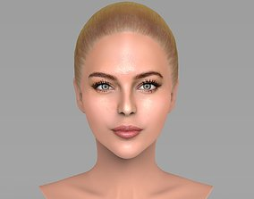 Beautiful blonde woman bust for full color 3D 3
