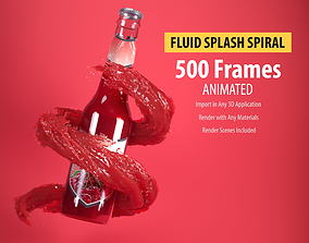 Animated Water plash spiral 3D