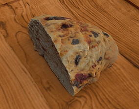 3D asset Tomato Olive Bread