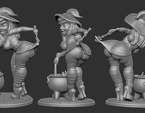 3D printable model stylized Witch Pinup - Cauldron
